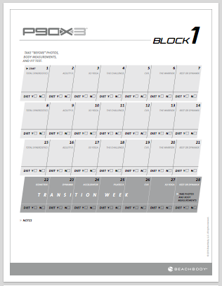 P90X3 Worksheets and Calendars - P413Life com