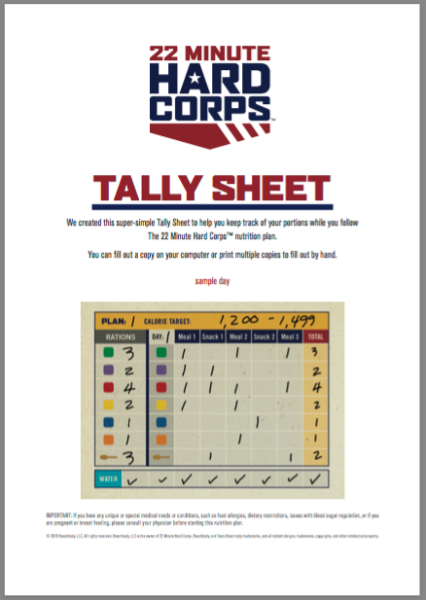 22 Minute Hard Corps Workout Calendar - P413Life com